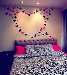 I add the zebra print blanket and pillows to contrast with the pink. This would look so good in my room. Butterfly Bedroom, Butterfly Wall Decor, Diy Butterfly, Butterfly Design, Girl Room, Girls Bedroom, Zebra Print Bedroom, Zebra Bedrooms, Diy Room Decor