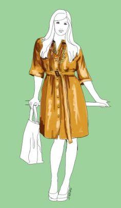 Styling für einen großen Busen: Viele vertikale Linien, V-förmiger Ausschnitt und Ketten sowie längere Ärmel machen das Hemdblusenkleid zum idealen Begleiter für Frauen mit großer Oberweite.