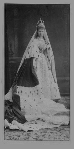 Grand Duchess Elizaveta Mavrikievna (nee Princess Elizabeth of Saxe-Altenburg) wife of Grand Duke Konstantin Konstantinovich, her 2nd cousin, on the occasion of her wedding.  She suffered many losses during WWI and the Revolution, outliving many of her children. (3 of her sons were executed with GD Ella.)