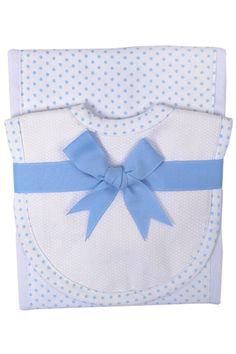 This popular gift set includes a burp pad with a fabric panel sewn down the middle and a fabric drooler bib backed with terry cloth. This gift is ready for giving as it comes tied with a gorgeous grosgrain bow!   Light-Blue-Polka-Dot Drooler Set by 3 Marthas. Home & Gifts - Gifts - Gifts by Occasion - Baby & Kids South Carolina