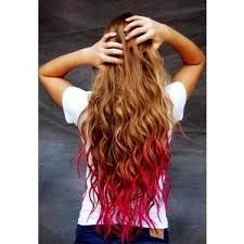 Image result for Red tipped hair natural brown hair