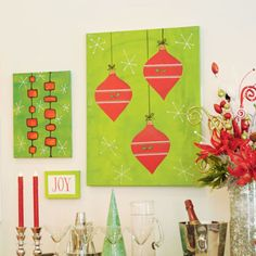 DIY Christmas Ornament Canvas Wall Art In Store Holiday Pinterest Party November 15, 2014 1pm - 4pm
