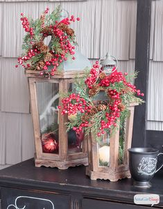 Atta Girl Says   Schoolhouse Inspired Vintage Christmas Decorations On the Porch   http://www.attagirlsays.com