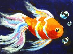 Gold Fish: One hour intermediate painting class (Ginger Cook Live) #gingercook  #art