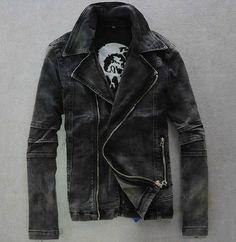 5e397cfa7 Mens punk motorcycle moto biker Denim hoody Jean Jacket Coat black