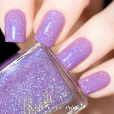 illimité The Nihilist is a lavender nail polish with blue shimmer and silver holographic glitter. Lavender Nail Polish, Lavender Nails, Glitter Nail Polish, Nail Polish Colors, Holographic Glitter, Simple Nail Art Designs, Toe Nail Designs, Nail Art Diy, Diy Nails
