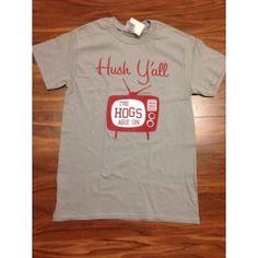 Arkansas Hush Y'all Tee Arkansas Razorbacks, Hush Hush, Tees, Mens Tops, Clothes, Outfits, T Shirts, Clothing, Kleding