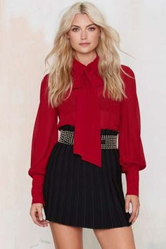 Nasty Gal Mademoiselle Pussy Bow Blouse