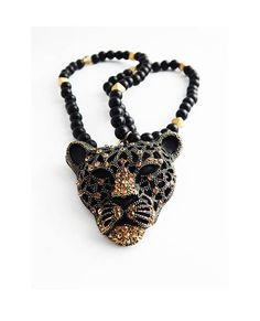 Panther Necklace African Black Panther Jewelry Ladies Statement Necklaces Black and Gold Black Beaded Gemstone Agate Panther Pendant Cute by TheBlackerTheBerry