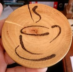 Wood Profit - Woodworking - Wooden Coaster Cup Design Pyrography Discover How You Can Start A Woodworking Business From Home Easily in 7 Days With NO Capital Needed! Wood Burning Crafts, Wood Burning Patterns, Wood Burning Art, Wood Patterns, Wood Crafts, Diy Wood, Diy Crafts, Dremel, Retro Cafe