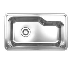 Noah's Collection Brushed Stainless Steel single bowl drop-in sink