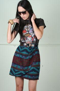Rock & Roll Machine 1980s Tribal Print Skirt
