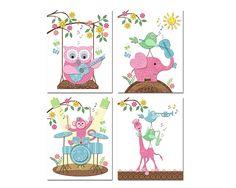 Music nursery art colorful baby girl room decor kids wall Girls Room Wall Decor, Playroom Decor, Music Nursery, Nursery Art, Kids Artwork, Kids Room Art, Kids Rugs, Colorful, Handmade Gifts