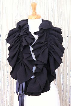 Infinity Scarf with Ruffles - Black Victorian Fashion Collar or Cowl by Mademoiselle Mermaid Fleece Projects, Art Projects, Gauze Fabric, Fabric Art, Fabric Flower Brooch, Ruffle Scarf, Beautiful Barbie Dolls, Barbie Dress, Neck Warmer