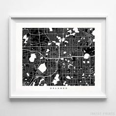Orlando, Florida Street Map Wall Art Poster - 70 Color Options - Prices from $9.95 - Click Photo for Details - #streetmap #map #homedecor #wallart #Orlando #Florida
