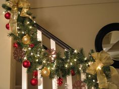 1000 ideas about christmas staircase decor on pinterest for Stair railing decorated for christmas