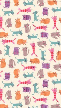 cats all-over pattern. maybe fabric or wallpaper. Cat Wallpaper, Pattern Wallpaper, Iphone Wallpaper, Seagrass Wallpaper, Paintable Wallpaper, Colorful Wallpaper, Fabric Wallpaper, Holiday Wallpaper, Trendy Wallpaper