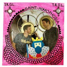 Saint Homophobia - 13x13 cm, Collage, Paper, Rhinestone, Fineliner, Paint Stick, Acrylic on Pasteboard, 2012 - Artist: Jens Stoewhase