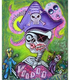 A cute and creepy undead skeleton pirate girl with her voodoo dolls and pink octopus pet.