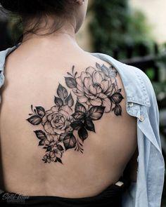 26 Awesome Floral Shoulder Tattoo Design Ideas For Woman - - Floral tattoo design , shoulder tattoo ideas for woman tattoo, flower tattoo, unique tattoo,woman t - Floral Back Tattoos, Floral Tattoo Design, Rose Tattoos, Flower Tattoos, Body Art Tattoos, Tattoo Designs, Sexy Tattoos, Cherry Tattoos, Tattoo Art