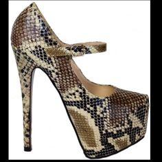 Virginia 133 collection Nude snake skin Virginia heels Shoes