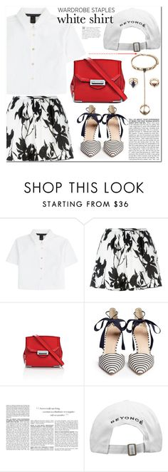 """Wardrobe Staples: The White Shirt"" by es-vee ❤ liked on Polyvore featuring Marc by Marc Jacobs, Thakoon, Alexander Wang, J.Crew, BCBGMAXAZRIA, Forever 21 and WardrobeStaples"
