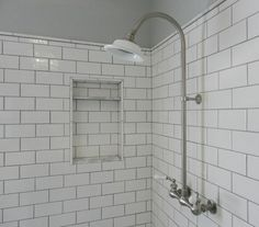 white subway tile shower with exposed shower set.  My daughter's MBath remodel, see more at Atticmag.com