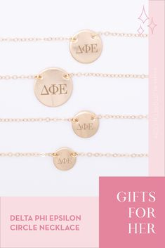 Sorority circle necklaces are the easiest gift for any celebration: Recruitment, Bid Day, Back to School & Big/Little. Spoil your new sorority girl with our simple and dainty Greek letter circle necklace! Delta Phi Epsilon Gifts | Delta Phi Epsilon Bid Day | DPhiE Necklace | Delta Phi Epsilon Jewelry | Sorority Bid Day | Sorority Recruitment | Sorority Jewelry Gifts | Sorority College Gift | Sorority New Member Gift Ideas | Dainty Jewelry | Simple Gold Necklace #SororityGifts #SororityJewelry
