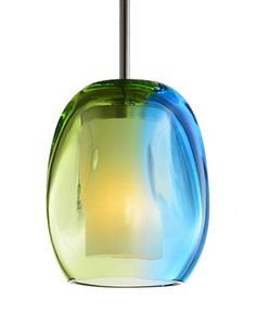 455201 - Single Lamp Pendant with Colored Glass
