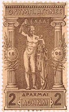 Reading Time: 2 minutes The first modern Olympic Games were held in Athens in April and Greece issued a series of twelve stamps … Rare Stamps, Old Stamps, Vintage Travel Posters, Vintage Ads, 1896 Olympics, Greek History, Stamp Collecting, Mail Art, Olympic Games
