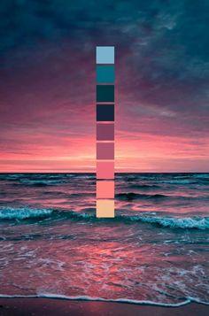 Sonnenuntergang am Meer // Farbschema // Meer, Wellen, rosa Sonnenuntergang Sunset at the sea // color scheme // sea, waves, pink sunset Colour Pallette, Colour Schemes, Sunset Color Palette, Color Combos, Maroon Color Palette, Lavender Color Scheme, Beach Color Palettes, Beach Color Schemes, Orange Color Palettes