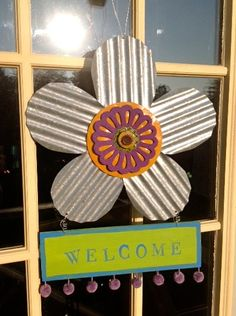 A welcome sign made with FolkArt paints
