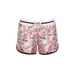 Moschino Bag-print silk-twill shorts (8,370 THB) ❤ liked on Polyvore featuring shorts, pink multi, stripe shorts, pink shorts, moschino, striped shorts and patterned shorts