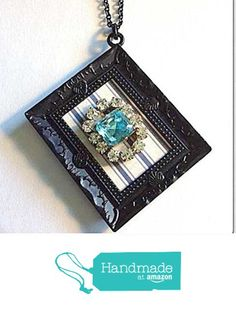 Vintage Rhinestone Pendant Necklace Upcycled Wearable Art Framed from NatureAngels - Handmade, Upcycled and Vintage https://www.amazon.com/dp/B016BUVGO6/ref=hnd_sw_r_pi_dp_SUigwbDRKW9WK #handmadeatamazon