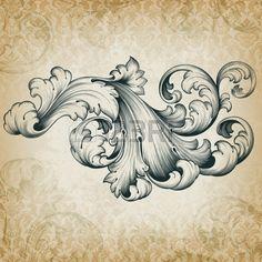 vintage barocken Kupferstich Blumenrolle filigranes Design Umrandung Akanthusranke Element retro grunge Damasthintergrund