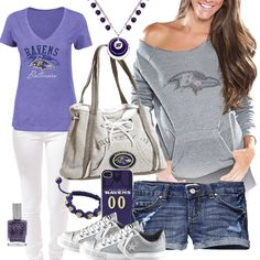 Love the outfit, just not the short shorts!  Women's Baltimore Ravens Fashion
