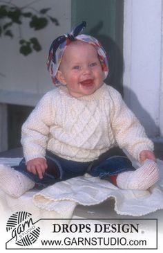 "BabyDROPS 6-2 - DROPS Pulli, Socken und Decken in ""Karisma"" - Free pattern by DROPS Design"