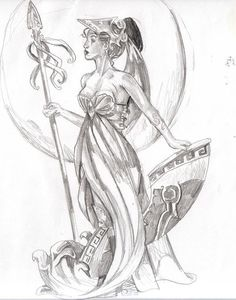Fan Art of Athena for fans of The Olympians 12768618 Minerva Goddess, Athena Goddess Of Wisdom, Athena Greek Goddess, Goddess Art, Goddess Of Love, Greek Mythology Tattoos, Greek Mythology Gods, Greek Gods, Athena Tattoo