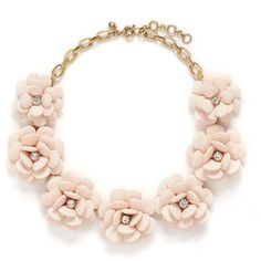 j.crew Beaded rose necklace ($140) ❤ liked on Polyvore featuring jewelry, necklaces, accessories, pink, flower necklace, chunky necklace, clear crystal necklace, clear bead necklace and pink flower necklace