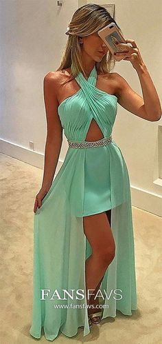 Green Prom Dresses High Low, Halter Prom Dresses With Slit, Sexy Prom Dresses Chiffon, Beading Prom Dresses Sequin #FansFavs #greendresses #highlowpromdresses #dresseswithslit
