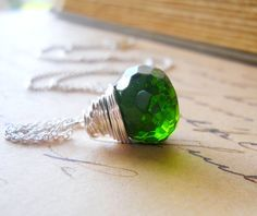 coupon code GIMMEHALF gets you 50% off anything and everything    Emerald Green Pendant Necklace Green Quartz Necklace by waterwaif, $50.00