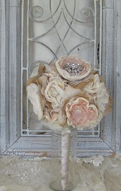 Wedding Bouquet Rhinestones Vintage Inspired Custom by mybrokenart, $150.00
