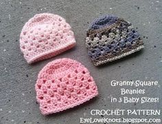 EyeLoveKnots: UPDATED! Granny Square Beanie in 3 Baby Sizes - Free Crochet Pattern