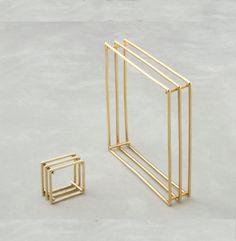 Square ring and bracelet in 14K Gold