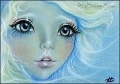 Sea Goddess ACEO Katerina Art ,Fantasy and Portraiture art by Katerina Art,The beautiful pencil art by Katerina Koukiotis