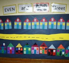 Even and Odd Street. Each kid makes an even house and an odd house. Put numbers on people and decide which side of the street they live on. Love it!