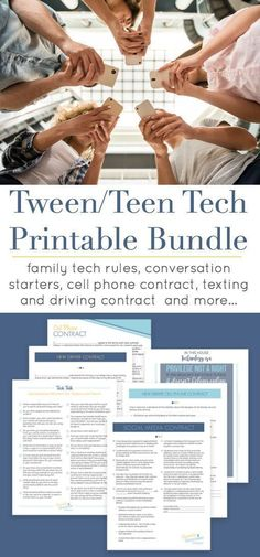 The Tween and Teen Technology Contracts Printables Bundle can help reduce the teen/parent conflict around technology use and help teens manage their digital lives responsibly. Includes cell a phone contract, social media contract and no texting and drivin Parenting Articles, Parenting Books, Parenting Teens, Foster Parenting, Parenting After Separation, Appropriate Technology, Cell Phone Contract, Parent Resources, Kids Nutrition