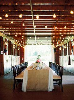 beautiful table decor with whimsical overhead lighting