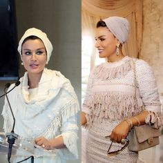 Sheikha Mozah loves fringe. She was wearing white Christophe Josse couture ensemble and pinkish/white Chanel haute couture ensemble. So chic.