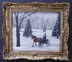 Original Paintings, Original Art, Oil Paintings, Dollhouse Miniatures, Dollhouse Ideas, Small Art, Miniature Furniture, Picture Frames, Moose Art